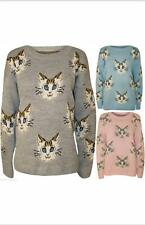Ladies Soft Warm Knitted Kitten Pattern Cute Cats Jumper Pastel Sweater Top