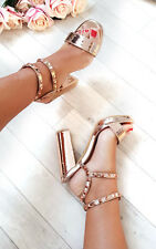 IKRUSH Womens Kailey Strappy Faux Suede Studded Block Heels