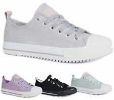 NEW LADIES WOMENS GIRLS FLAT LACE UP PLIMSOLLS PUMPS SUEDE TRAINERS SHOES SIZE
