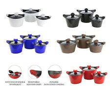 Caia 3pc Non-stick Marble Coated Die-cast Stockpot Set with Glass Lids 5 Colours