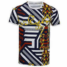 Mens Crew Neck Navy White Stripe Floral Print Stretch T Shirt Slim Fit Tee Top