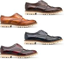 Base London RAID Mens Hi-Shine/Washed Leather Formal Lace Up Derby Brogue Shoes