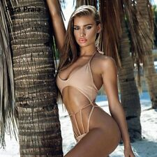 Swimwear Women New Halter One Piece Cut Out Swimsuit Girl Sexy High Solid String