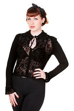Flocked Gothic Punk Embroidered Lady Skull and Rose Cardigan By Banned Apparel