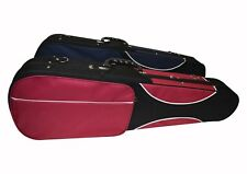 Ferris 4/4 Shaped Violin Case with Lock Back Straps & Pockets Red & Blue