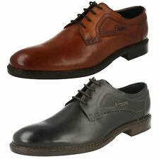 Mens Bugatti Lace Up Burnished Look Formal Leather Shoes Bene