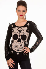 Sugar Mexican Skull Gothic Punk Knitted Pullover Jumper Lace By Banned Apparel
