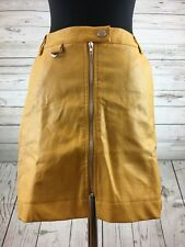 ASOS Fashion  Petite Mini Skirt In Faux Leather With Zip Detail Yellow Size 10