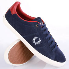 Fred Perry Howells Unlined Suede Carbon Schuhe Sneaker Blau Rot Weiß