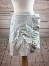 PrettyLittleThing Frill Front Leather Look White Skirt size 12 ASOS