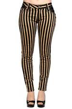 Brown and Black Stripes Steampunk Skinny Jeans Trousers By Banned Apparel