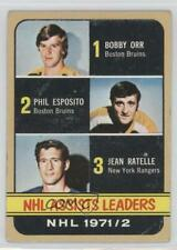 1972-73 Topps #62 Phil Esposito Jean Ratelle Bobby Orr Boston Bruins Hockey Card