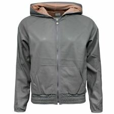 Nike Air Zip Up Grey Leather Womens Hooded Jacket 298968 082 M1
