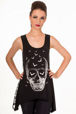 Ladies Emo Gothic Punk Candy Skull Bats Skull Lace Back Vest Top Banned Apparel