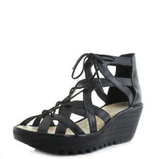 Womens Fly London Yeli Colmar Black Wedge Heel  Lace Up Platform Sandals UK Size