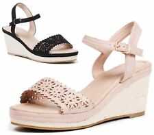 LADIES WEDGE HEEL STRAPPY CUT OUT SHOES SLINGBACK PEEP TOE ESPADRILLES SANDALS