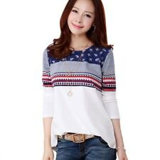 Long Sleeve T Shirt Women T Shirts Cotton Printed Tees White Tops Female Outwear