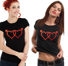 Her and Her love hearts T-shirts set. Same sex love.
