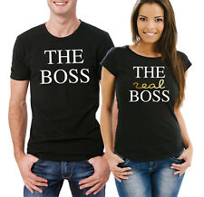 The Boss, The real Boss couple his and her matching black T-shirts set.