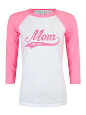 Custom Mom since... 3/4 Sleeve Baseball neon pink and white T-Shirt with glitter