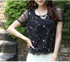 Women Blouse Casual Mesh Floral Lace Top Ladies Short Sleeve Chiffon Summer Tops
