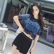 Crop Top Ladies Lace Chiffon Blouse Shirt New Sexy Hollow Out Cool Summer Tops