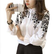 Embroidery Blouse Shirt Cotton Linen Women White Black Embroidered Tops Clothing