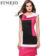 Bodycon Dress Patchwork Contrast Color Short Sleeve O-neck Pencil Dresses S-XXXL