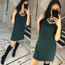 Short Sleeve Women Casual O-Neck Loose Dress Beach Mini Dresses Plus Size New