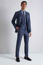 French Connection Mens Slim Fit Wool Blend Formal Suit Jacket in Blue Mist