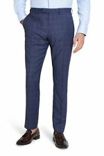 Moss 1851 Mens Italian Tailored Fit Windowpane Check Formal Suit Trousers Blue