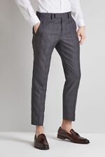 Moss London Mens Slim Fit Charcoal with Pink Windowpane Check Cropped Trousers