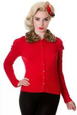 Red Vintage Retro Rockabilly 50's Leopard Faux Fur Cardigan By Banned Apparel