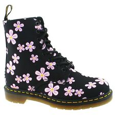 LADIES DR MARTENS PAGE MEADOW BLACK PINK FLOWERS CANVAS 8 EYELET BOOTS