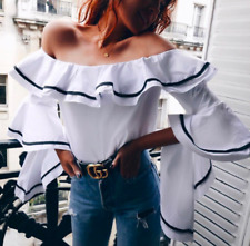 ZARA OFF THE SHOULDER FRILLED SLEEVE TOP SIZE XS_S_M_L REF.2857/201