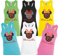 Disney Minnie Mouse inspired birthday girl tank tops with red/ black glitter .