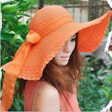 Women Hats Wide Large Brim Floppy Summer Beach Straw Caps Bow Sunscreen Protect