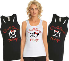 Custom Ladies Birthday tank top with mouse ears and bow with red glitter.