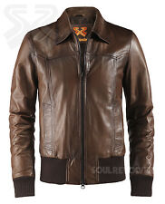 Marrón Antiguo Bomber estilo Chaqueta de cuero THE DEAL Soul REVOLVER