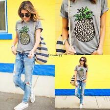 Top impression T-Shirt femme Fashion Casual col rond manches courtes EA77