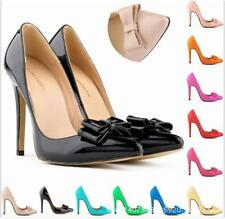 NEW LADIES WOMENS STILETTO HIGH HEEL BRIDAL COURT SHOES SIZE 2-9 BOW PROM 302-19