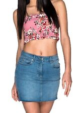 Women's Destressed Raw Hem High Waisted Denim Stretchy Mini Skirt  Mid Blue