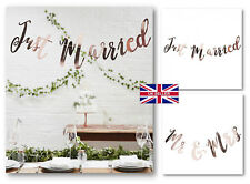 UK Seller Rose Gold Just Married Mr Mrs Bunting Banner Garland Wedding-Party BQP