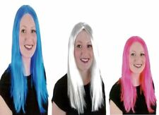 Ladies White Pink Straight Extra Long Cosplay Wig Women Girls Fancy Princess Wig