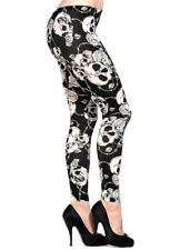 Black White Skull Roses Gothic Emo Punk Rockabilly Leggings By Banned Apparel
