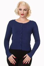 Women's Blue Getaway Plain Vintage Retro Rockabilly Cardigan By Banned Apparel
