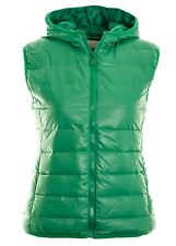 Women's Jade Green Sleeveless Quilted Gilet Bubble Jacket  Hooded Body Warmer