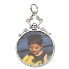 Sterling Silver Double Sided 2 Photo Scroll Top Picture Frame Pendant Oval-Round