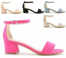 WOMENS FAUX SUEDE BLOCK HEEL ANKLE BUCKLE SANDALS LADIES PEEP TOE PARTY SHOES