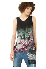 Desigual Watercolour Floral Chiffon Front Tee Top Blouse S-XXL UK10-18 RRP?49